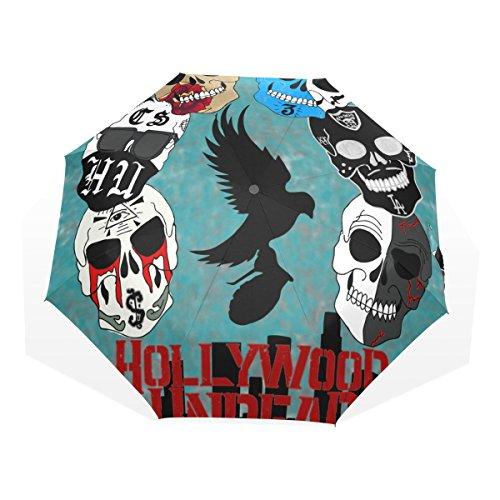 GUKENQ Hollywood - Paraguas de Viaje con diseño de Calaveras de azúcar, Ligero, antirayos UV, para Hombres, Mujeres y niños, Resistente al Viento, Plegable, Paraguas Compacto