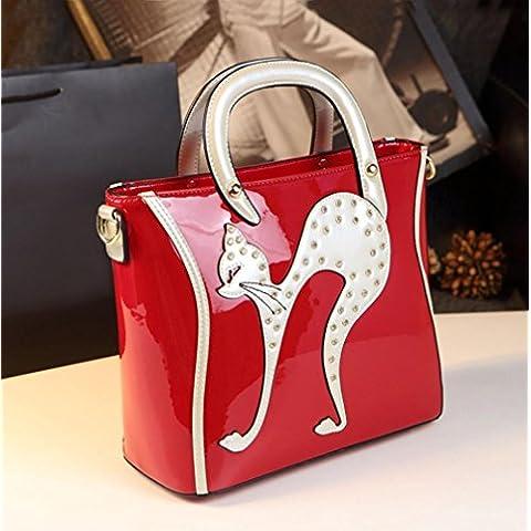 La signora pelle verniciata di modo borsa del modello del gatto borsetta tracolla banchetto (28 * 25 * 14cm) , red