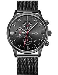 Para hombre m2011gh negocio Formal de aleación de calendario cuarzo reloj de pulsera para hombre de acero inoxidable negro