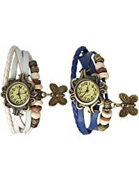 RTimes White and Blue Vintage Designer Leather Set of 3 Multicolor Bracelet Butterfly Watch for Girls, Women