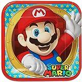 Super Mario Bros - Plato de Fiesta Cuadrados, 8 Unidades, 23 cm (Amscan 551554)
