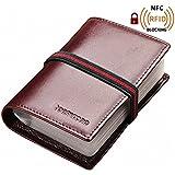 Teemzone Unisexo caja de Tarjeta de cuero tarjeta del bolso caso Holder genuino con cinturón elástico