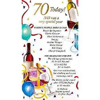Male Age 70 70th Year You Were Born In 1949 Birthday Card