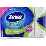 Zewa Wisch und Weg Küchenrollen Reinweiss, saugstarke Wischtücher in hellem Weiß, 1 x 4 Rollen (4 x 45 Blatt)