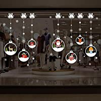 Stickers noel,Koly Stickers Muraux fenetre Vitres Decoration de Noël Wall Stickers Amovible Autocollants flocon de neige bonhomme de neige decoration noel Salon vitrine De La Chambre deco noel (AA, 70cm*50cm)