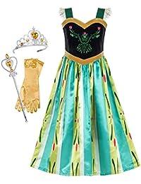 31b5f6eaf442 Sunboree Mädchen Kleid Prinzessin Kleid Anna Kostüm Zubehör Krone  Zauberstab ...
