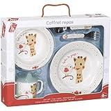 Sophie la Girafe 460007 - Caja regalo con set de comida, incluye plato anti-deslizante, plato hondo con ventosa, taza de aprendizaje anti-fugas, cubiertos