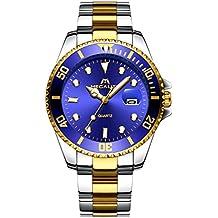 Relojes Hombre Acero Inoxidable Oro Reloj de Pulsera de Lujo Moda Impermeable Fecha Calendario Clásicos Diseño