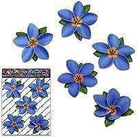 Flor Azul Único Frangipani Plumeria etiquetas engomadas del coche del paquete - ST00041BL_SML - JAS Stickers