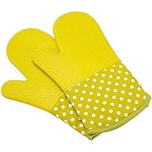 UBEST Spezialität Ofenhandschuhe, 300 Celsius Silikon und Baumwolle Backhandschuhe, Topfhandschuhe, verdicken Grillhandschuhe, 1 paar, grün