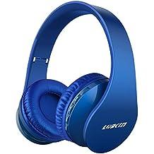 LOBKIN Bluetooth para auriculares estéreo V4.0 Música plegable Over-oreja sonido de alta fidelidad Calling construido en Mircophone manos libres, inalámbrico de conexión de cable, para Iphone 6S 6S, 6S Plus Samsung, Android Smartphone, tableta, PC, MAC y Laptop (azul oscuro)