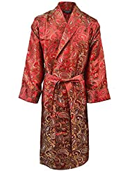 Lloyd Attree & Smith - Robe de Chambre en Viscose - Paisley Rouge / Or - Homme