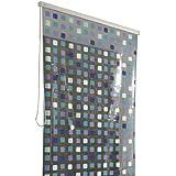 Kleine Wolke 3321721747 Duschrollo für Kleine Wolke-Leerkassette, 128 x 240 cm, Quadrate blau