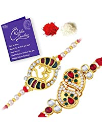 Sukkhi Astonish Rakhi Kundan Combo (Set of 2) with Roli Chawal and Raksha Bandhan Greeting Card For Men