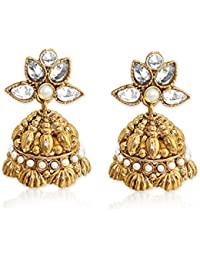 Spargz Designer Gold Plated AD Stone With Pearls Jhumki Earrings For Women AIER 671