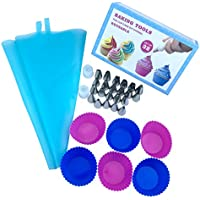 Cake Piping Icing Nozzles Tips Kit Set, Silicone Cream Pastry Bag For DIY Baking Cupcake, 32pcs(22 nozzle+2 blue bags)