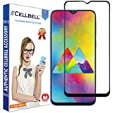 CELLBELL® Full Glue Edge to Edge Tempered Glass Screen Protector with Installation Kit for Samsung Galaxy M20(Black)