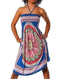 Unbekannt  Damen Kleid Minikleid Cocktailkleid Neckholder Bunt Design  Bandeau Partykleid Strandkleid Blumen Aztec Paisley Print 5b404c972d