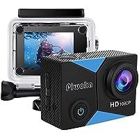 """Piwoka Cámara Deportiva HD1080P 12MP Impermeable 30M acción cámara submarina Pantalla 2"""" LCD Gran Angular con Multi Accesorios para Deportes, Buceo, Coche, Moto, Bicicleta etc. (Azule)"""