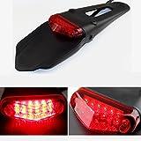 League&Co DRZ400 Guardabarros con foco trasero y Luz de freno, para moto, Universal, Enduro, todoterreno(Lente Roja)