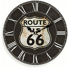 """Orologio da parete in legno, 29cm,motivo: """"Route 66"""", colore: nero, orologio da cucina, con numeri romani, al quarzo"""