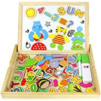 Tablero magnético de dibujo de madera de doble cara Tablero magnético Puzzle Juegos de rompecabezas  Magnéticos de madera juguete Juguetes educativos para niños (70+ Pcs)