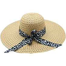 Yesmile Sombrero Sombrero de Sol de Belleza Elegante Mujer con Estampado de  Leopardo Sombrero de Paja 0175ad91183