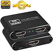 1x2 HDMI Splitter, easyday Full HD 1080P 3D 4K HDMI Splitter 1 In 2 Out for Xbox PS4 PS3 Blu-Ray player DVD HD