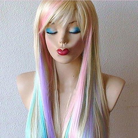 HJL-mette in evidenza il gioco pendenza lungo rettilineo parrucca cosplay del anime dei capelli della bionda del vestito operato parrucche del - Anello Operato