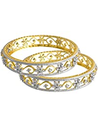 JFL - Traditional Ethnic Fusion Cz American Diamond Floral Flower Designer One Gram Gold Plated Bangles For Women...