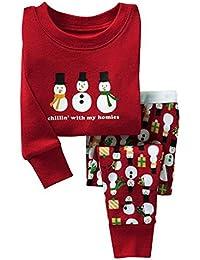 Pijamas de Navidad de niños niñas, Meedot 2 piezas de algodón ropa de dormir de manga larga para niños de 2-7 años de edad