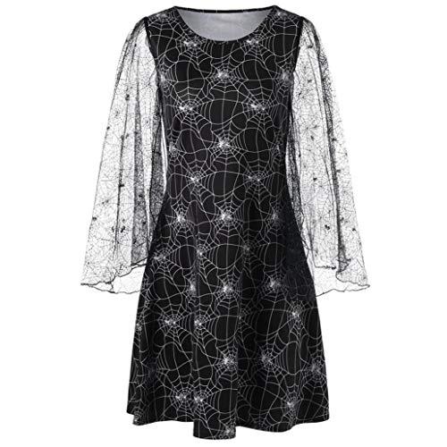 Wawer Halloween Dresses for Women  Women s Vintage Cobweb Print Rockabilly Party Dress Halloween Mini Dress UK 8-14  Black  UK 14