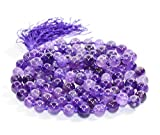 Amethyst High Quality Mala Bead Size - 8mm Chakra Balancing Reiki Healing Aura Cleansing Crystal.FREE Lava Bead Bracelet Worth Rupees 700-/