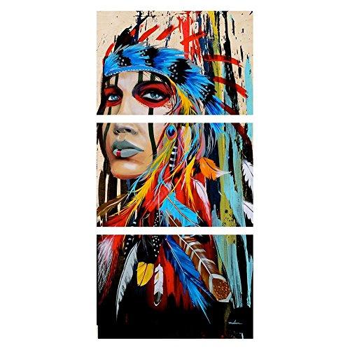 Globeagle 3/Set Vertikal HD Tribal Girl Print rahmenlose Leinwand Malerei Bilder/L