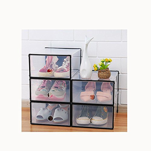 Die Kunst Der Lagerung (OOFYHOME Schuhkarton, stapelbarer Schuh Aufbewahrungsbox Organizer-Solid und langlebig-Clear Cover-Pull-Out-Schublade-Easy zur Lagerung der Schuhe , black and 5 clothes)