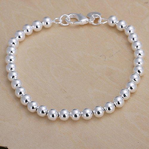 Pulsera de cuentas dejoyliveCY, de perlas huecas para mujer, chapada en plata de ley 925, 6mm, diseño elegante