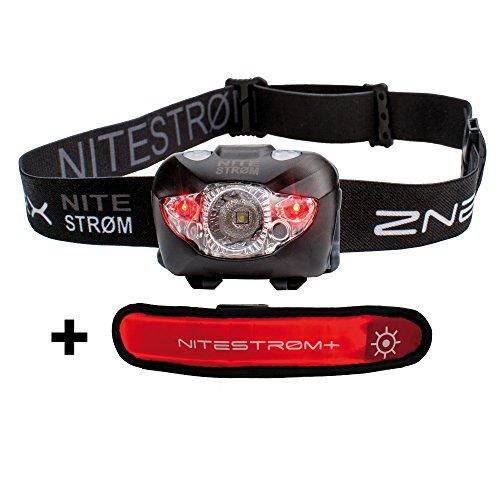 Preisvergleich Produktbild ZNEX Nitestrøm | Super Helle Wasserdichte IPX6 LED Stirnlampe 168 Lumen mit Infrarot-Sensor-Gestensteuerung, Rotlicht, Blinklicht, SOS-Notfall-Pfeife und GRATIS LED-Leuchtarmband für optimale Sichtbarkeit im Dunkeln