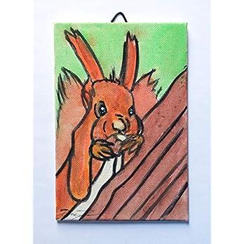 Das Eichhörnchen- Handgemalte Leinwand auf Karton, Maße cm 10x15x0,3 cm, fertig zum Aufkleben auf die Wand. Hergestellt…