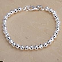 joyliveCY 2016la moda mujer elegante 925bañado en plata joyas pulsera de perlas de 6mm de ancho cruz sólido hueco