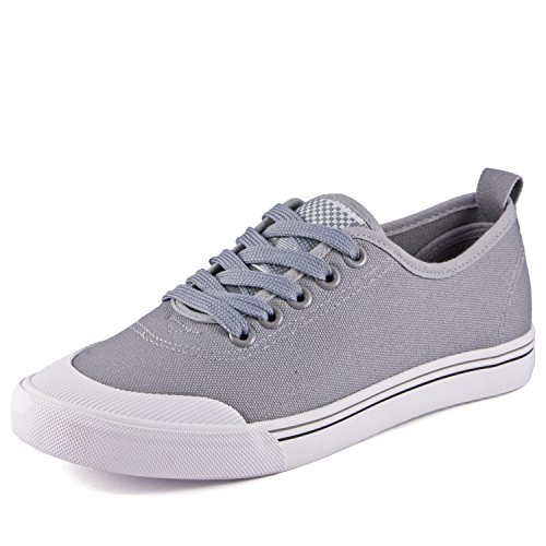 DeVEE Women's Old Pro-School Trainer Grey Low top Canvas Sneaker UK 2.5