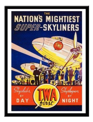 twa-dc3-airline-print-1937-memo-board-magnet-schwarz-gerahmt-41-x-31-cms-ca-406-x-305-cm
