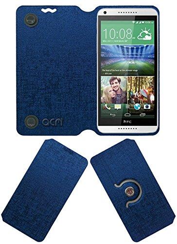 Acm Designer Rotating Flip Flap Case for Htc Desire 816g Mobile Stand Cover Blue