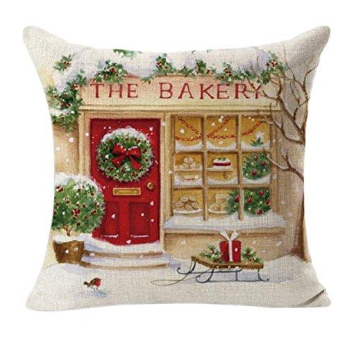 ZIYOU Weihnachten Leinenwurf Kissenbezug, Platz Kissen Fall dekorative Zierkissen Hüllen (Dekorative Akzent-stühle)