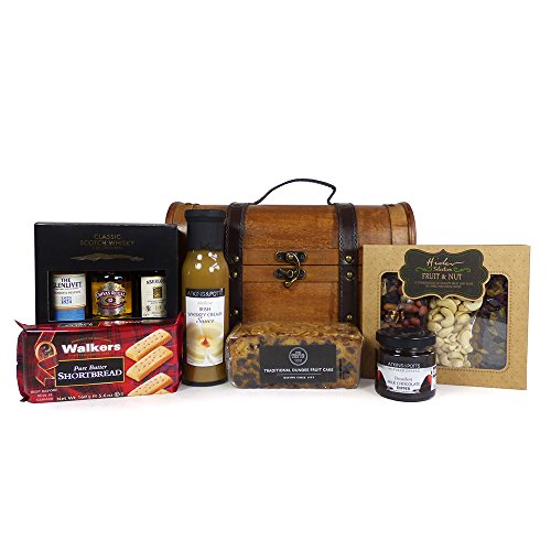 Whisky and Sweet Treats Food Hamper Presented in an Oak Style Chest - Gift Ideas for Christmas, Birthday, Anniversary and Corporate
