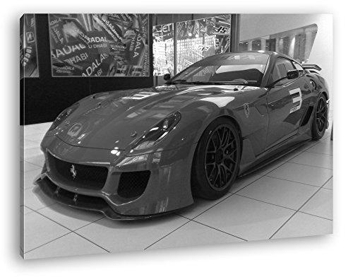 deyoli Roter Ferrari in Einer Ausstellung Effekt: Schwarz/Weiß Format: 120x80 als Leinwandbild, Motiv fertig gerahmt auf Echtholzrahmen, Hochwertiger Digitaldruck mit Rahmen, Kein Poster oder Plakat