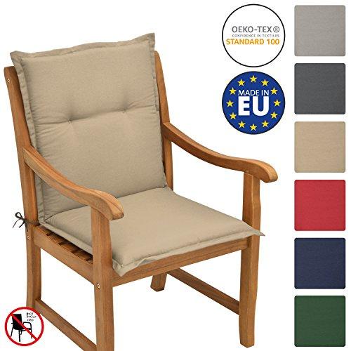 Beautissu cuscino per sedie da giardino e spiaggine loft nl - 100x50x6cm -soffice imbottitura e comfort extra - beige