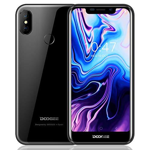 Smartphone ohne Vertrag, DOOGEE X70 3G Dual SIM Android 8.1 Günstig Handy, 5.5 Zoll HD IPS - MTK6580A Quad-core handys - 5MP +8MP Kamera - Dual SIM - 2GB RAM + 16GB ROM - 4000mAh-Gesichts-ID (Schwarz)