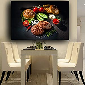 Leinwanddruck Plakat Leinwand Malerei Wand dekorative Gemüse Fleisch Messer und Gabel Küche Leinwand Gemälde Bild…