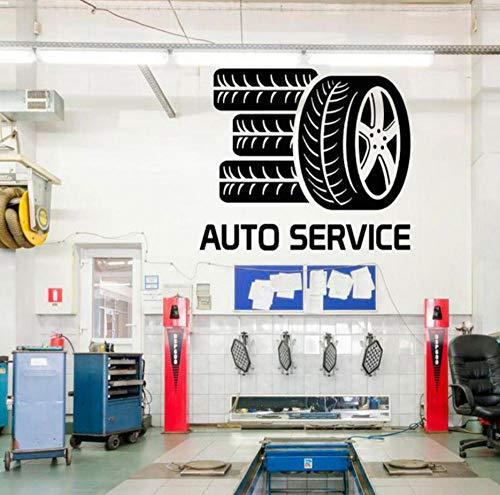 Kssim Auto Service Glas Aufkleber, Reifen-Styling Wand Vinyl Aufkleber, Reparatur, Autowäsche, Fensteraufkleber, Kundenspezifische Wanddekoration 66 * 57Cm