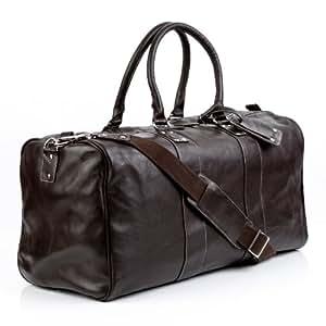 BACCINI Reisetasche TOBY - Weekender XL - Sporttasche mit praktischem Gepäckanhänger - echt Leder braun